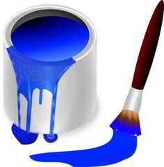Blue Paint Brush And Can clip art - vector clip art online, royalty free & public domain