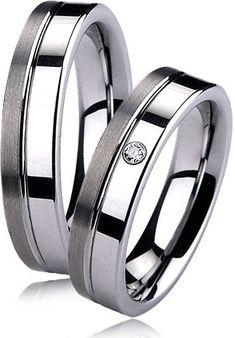 Snubní prsteny wolfram se zirkonem - pár NWF1001-Zr, 3.100 Kč