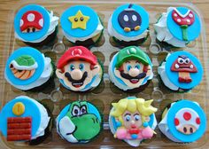 Video Game Themed Cupcake Toppers by TutuCuteCakes on Etsy, $28.00.  Tutu Cute Cakes rocks (Located in Chesapeake, VA!)