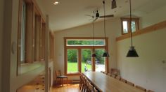 Dining room inside deluxe man cave on Orcas Island, WA. Constructed by Spane Buildings of Mount Vernon, WA.