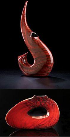 Contemporary art glass sculptures in red by Bernard Katz Glass