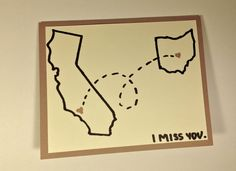 """I Miss You  Long Distance Card by LifesSimpleGestures on Etsy, $4.00.  """"This card may be customized for any of the 50 states.""""  Cool!"""