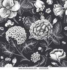 Beautiful vintage floral seamless pattern Garden roses, hydrangea and dog-rose flower on a black background Vector illustration Black and white color