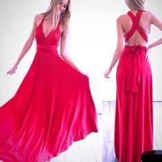 Red maxi dress Thick cotton material. Two straps are adjustable to fit your bust and to wear in differs ways. L From waist to bottom: 43-44 inches. Bust fits B to E. Nwot. M waist to bottom: 42-43, bust fit A to D. S waist to bottom: 41-42. Bust: A to D Dresses Maxi