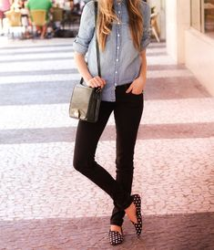 Chambray with black skinnies and a fun shoe!