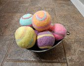 Ovella Wool Dryer Balls: The Doces Brillante Collection-Set of Three (3), colorful, orange, rainbow, custom, unique, bright, reusable, green - pinned by pin4etsy.com