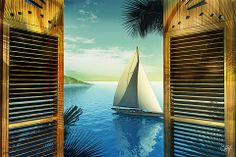 Sail Boat picture scean through old Wood Shutters Title of Art Set Sail By Artist Mark Watts – Mark Watts Art