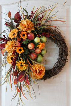Colorful Front Door Fall Wreath, Apples and Pears On A Vine, Beautiful Fall Flowers, Fall Decoration Thanksgiving Wreaths, Autumn Wreaths, Holiday Wreaths, Wreath Fall, Summer Wreath, Wreaths For Front Door, Door Wreaths, Grapevine Wreath, Wreath Burlap