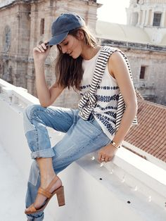Madewell Hutton heel worn with embroidered tank + patched-up boyjean.
