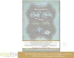 vintage style glitter Elephant Baby Shower Invitation  Blue Gray Vintage by starwedd, $20.00