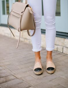 The Perfect Neutral Accessories / Celine Bag & Chanel Espadrilles Chanel Espadrilles Outfit, White Espadrilles, Chanel Flats, Leather Espadrilles, Moda Fashion, Womens Fashion, Fashion Fashion, Runway Fashion, Fashion Trends