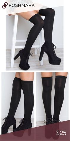Black Knee Highs Get cozy this Fall and Winter with these comfy black knee highs! Made of 97% Lycra and 3% spandex Jennifer's Chic Boutique Accessories Hosiery & Socks