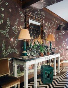 Miles Redd  This entry is high impact.  The chocolate hand-painted de Gournay wallpaper and zig-zag painted floor work in harmony together, because one is floral and one is a geometric.  The faux tortoise mirror, and malachite lamps and garden stool are another bold pop.