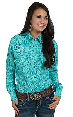 Cowgirl Hardware Women's Turquoise Long Sleeve Pearl Snap Western Shirt   Cavender's
