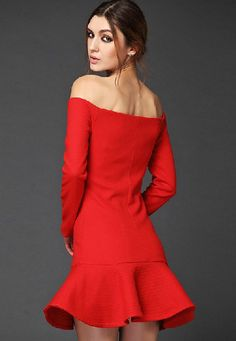 Red boat neck off the shoulder ruffle dress #fashion