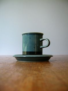 Vintage Mid Century Arabia Finland Meri Cup / Saucer by luola, $38.00