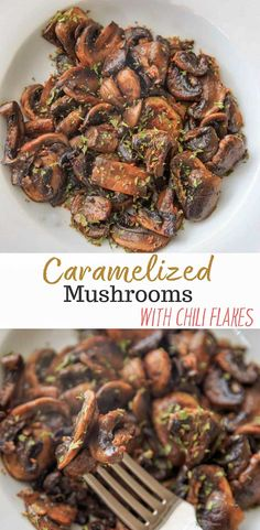 Caramelized Chili White Button Mushrooms - sliced mushrooms caramelized in garlic and olive oil, topped with chili flakes and parsley. A deliciously easy, spicy and unexpected veggie side dish!