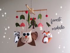 Your place to buy and sell all things handmade Baby Crib Mobile, Baby Cribs, Tree Mushrooms, Woodland Mobile, Raccoons, Felt Animals, Squirrel, Nursery Decor, Baby Shower Gifts