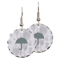 Cute Umbrella Earrings #green #pattern