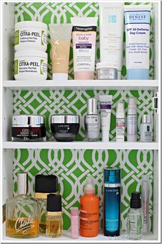 How-to line the inside of a cabinet with decorative paper.  Found on Diane Henkler's http://inmyownstyle.com Lining Cabinets, Bathroom Hacks, Bathroom Organization, Bathroom Ideas, Bathrooms, Bath Girls, Diy Wallpaper, Bathroom Cabinets, Bathroom Medicine Cabinet