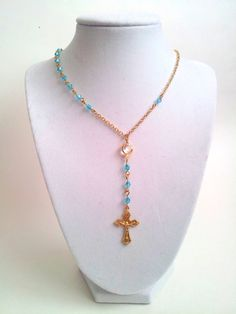Gold Rosary Necklace Light Blue Swarovski by divinitycollection, $40.00
