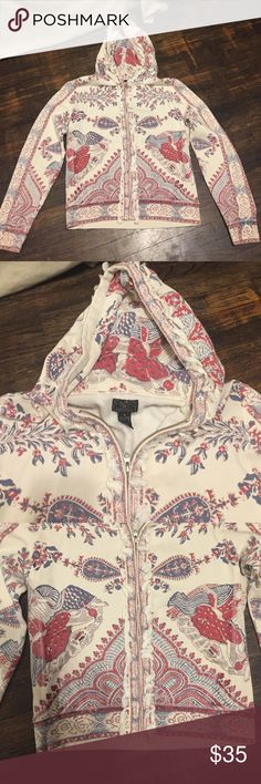 Lucky Brand Japanese Cherry Blossom Zip-Up Hoodie Ivory zip up Lucky Brand Hoodie. Light blue, light red and tan cherry blossom print. Tassel fringe trim around zipper and hood. 89 percent cotton/11 percent polyester. Hand wash cold. Tumble dry low. Lucky Brand Other
