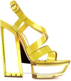 Casadei Ivy Patent Leather Platform Sandals in Yellow