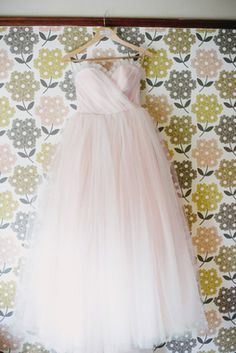 Blush Pink Tulle Wedding Dress - Vintage Style Ball Gown - Kristine Style - Avail & Company, LLC  This pale pink dress is simple and elegant with a poofy tulle skirt out of a fairy tale. The dress also has detachable straps and is perfect for multiple venues. Indoors outdoors.