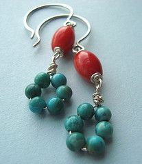 coral turq earr  from fuchsiabloomstudio