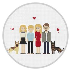 Custom Cross Stitch Family 6 characters PDF Personalized family portrait Cotton Anniversary Gift  Family portrait Cross Stitch X143
