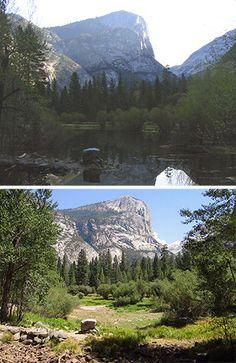 Mirror Lake in April (top) and August (bottom), Yosemite National Park California