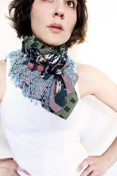 Lace Upcycled Necktie Collar in Plum, Green & Teal