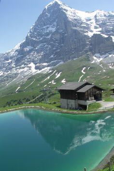 The Eiger North Face and refelection, Kleine Scheidegg, Jungfrau Region, Switzerland