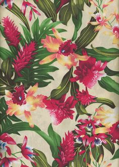 30wanaao - Tropical Hawaiian Fabrics Hawaiian Tropical Leaves, Torch Ginger and Hibiscus flowers on a cotton broadcloth apparel fabric.