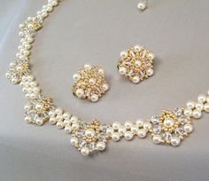 Beaded Wedding Necklace and Earring Set Cream by BridalDiamantes