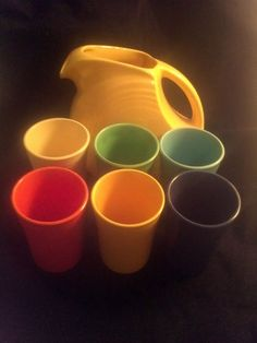 RARE Vintage Fiesta Ware Water Pitcher Tumbler Juice Set Radioactive Red Orange | eBay