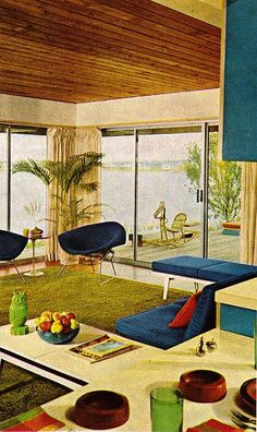 Leisure Living, mid century / retro, love the wood ceilings Mid Century Decor, Mid Century House, Mid Century Furniture, Mid-century Interior, Interior And Exterior, Interior Design, Modern Interior, Interior Decorating, Mid-century Modern