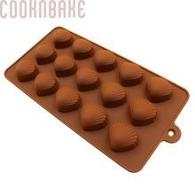 COOKNBAKE DIY Silicone Mold New 15 Lattices Cracker M Chocolate Mold Ice Cube Shell Mold SICM-115-5(China)