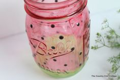Painted Watermelon Mason Jar Craft plus more LIVE crafts - * THE COUNTRY CHIC COTTAGE (DIY, Home Decor, Crafts, Farmhouse)