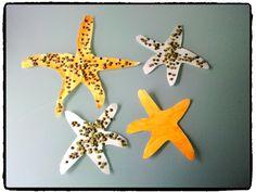 étoiles de mer, collage lentilles, bricolage enfant, mer et océan