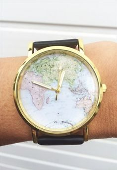 Cute black world map vintage inspired watch