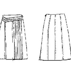 Classic skirt with 5 pleats on right thigh and one double pleat on the left thigh. It has an asymmetrical front yoke, trimmed with top-stitch