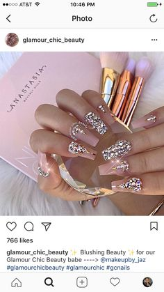 ✯ nails ✯ ✯ nails ✯ in 2019 nails, diamond nails, gorgeous nails. Glam Nails, Fancy Nails, Bling Nails, Nude Nails, Acrylic Nails, Bling Wedding Nails, Bridal Nails, Fancy Nail Salon, Coffin Nails