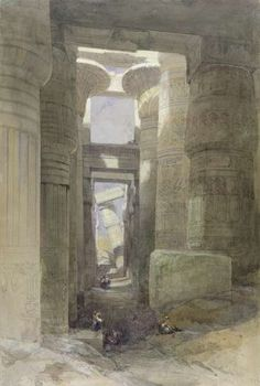 The Great Temple of Amon Karnak, the Hypostyle Hall, 1838 (w/c & gouache over graphite on paper) Wall Art Prints by David Roberts