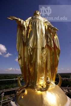 Mary statue atop the Golden Dome, University of Notre Dame.