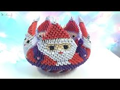 How to make 3D origami Bowl Santa Claus - part 2 - YouTube