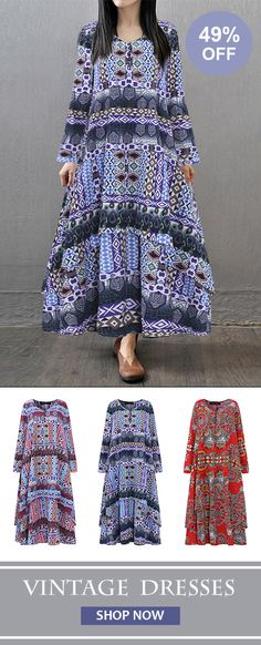 [Newchic Online Shopping] 49%OFF Women Printed V-neck Long Sleeve Maxi Vintage Dresses