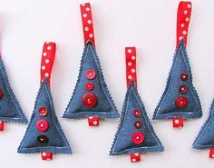 Make Christmas Trees in Denim ornaments for your tree this year! See what you've got in your fabric stash - there's not need to head to the store for supplies. This Christmas craft pattern is perfect for an avid sewer.