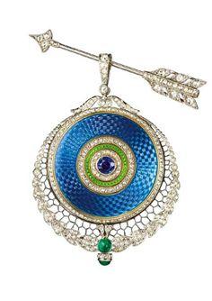 Joseph Chaumet - A Belle Epoque platinum, gold, guilloché enamel, diamond and gem-set pendant watch and arrow pin, circa 1910. #Chaumet #BelleÉpoque #PendantWatch