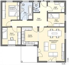 Bungalows - BGW Hausbau Architecture Drawing Art, House Architecture, Small Floor Plans, House Floor Plans, House Map, Bungalows, Tiny House, Sweet Home, Flooring